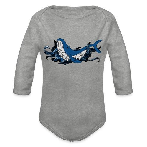 Doodle ink Whale - Body ecologico per neonato a manica lunga