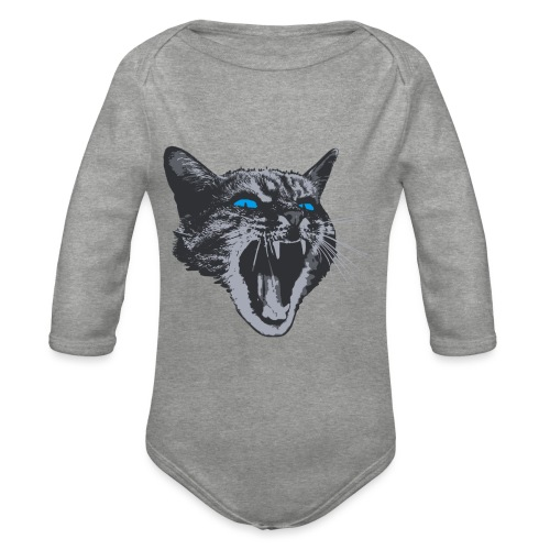 Really angry kitty cat - Organic Longsleeve Baby Bodysuit