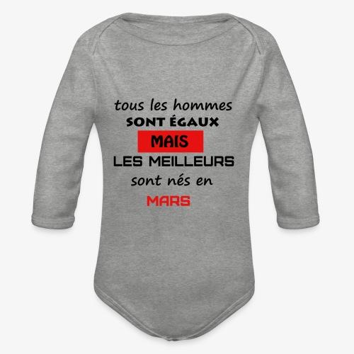 les meilleurs sont nés en mars - Body Bébé bio manches longues