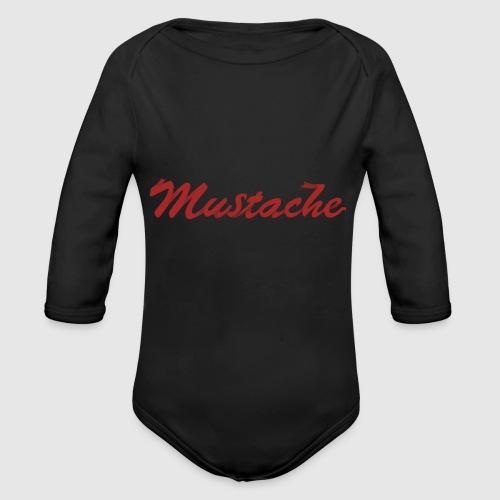 Red Mustache Lettering - Organic Longsleeve Baby Bodysuit