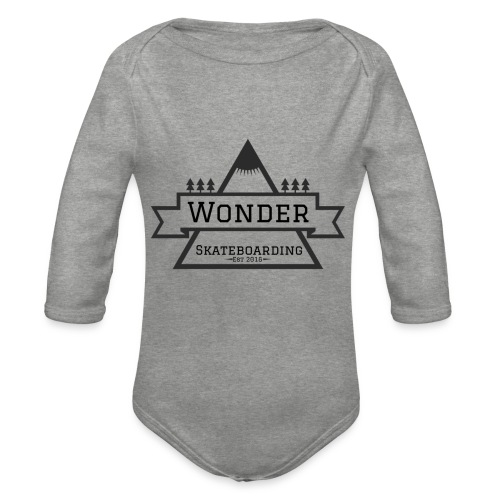 Wonder hoodie no hat - Mountain logo - Langærmet babybody, økologisk bomuld