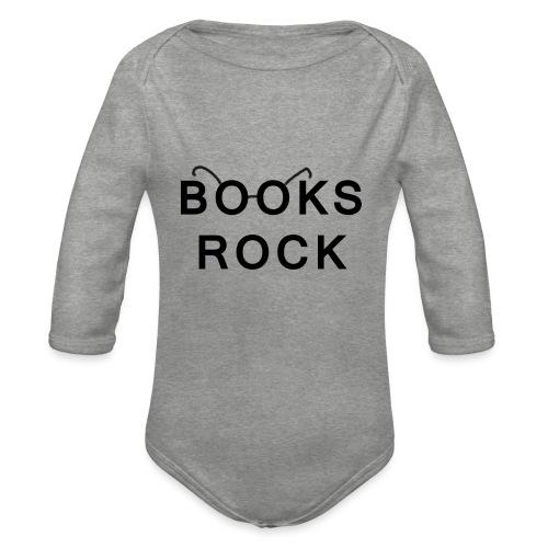 Books Rock Black - Organic Longsleeve Baby Bodysuit