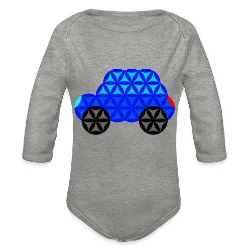 The Car Of Life - M01, Sacred Shapes, Blue/R01. - Organic Longsleeve Baby Bodysuit