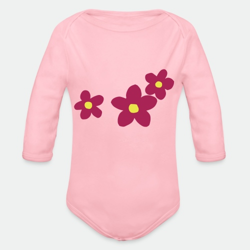 Three Flowers - Organic Longsleeve Baby Bodysuit