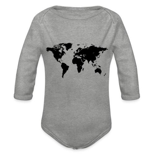 World Map - Baby Bio-Langarm-Body