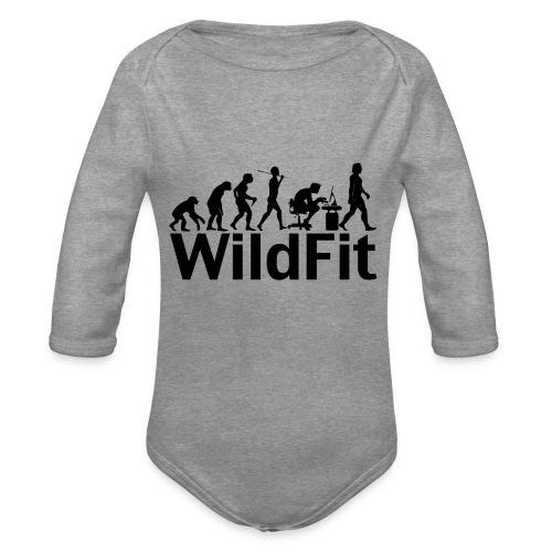 WildFit Logo Evolution in Schwarz - Baby Bio-Langarm-Body