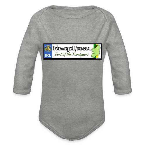 DONEGAL, IRELAND: licence plate tag style decal - Organic Longsleeve Baby Bodysuit