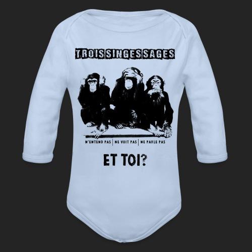 Three wise monkeys - Body Bébé bio manches longues