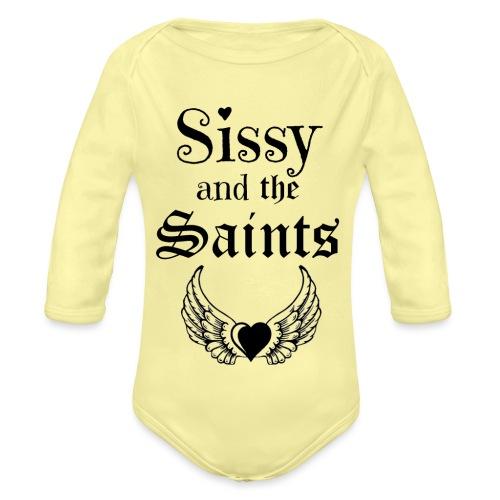 Sissy & the Saints zwarte letters - Baby bio-rompertje met lange mouwen
