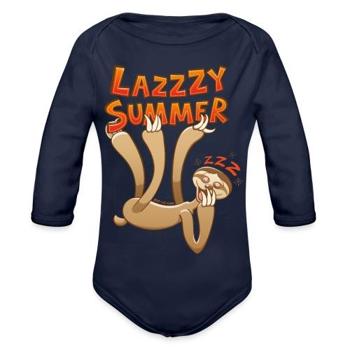 Sleepy sloth yawning and enjoying a lazy summer - Organic Longsleeve Baby Bodysuit