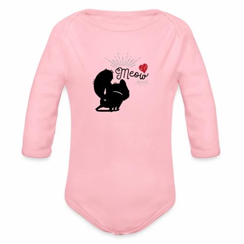 gatto meow - Body ecologico per neonato a manica lunga