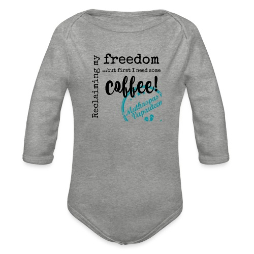 Kahvimuki Matkaopas Vapauteen, turkoosi - Vauvan pitkähihainen luomu-body