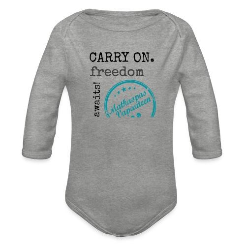 Kangaskassi Matkaopas Vapauteen, turkooosi - Vauvan pitkähihainen luomu-body
