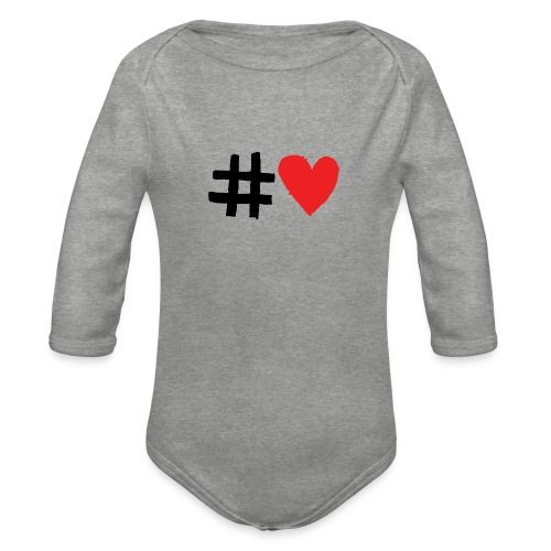 #Love - Langærmet babybody, økologisk bomuld