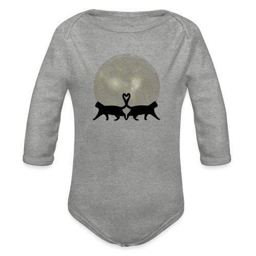 Cats in the moonlight - Baby bio-rompertje met lange mouwen