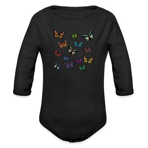 Butterflies flying - Ekologisk långärmad babybody