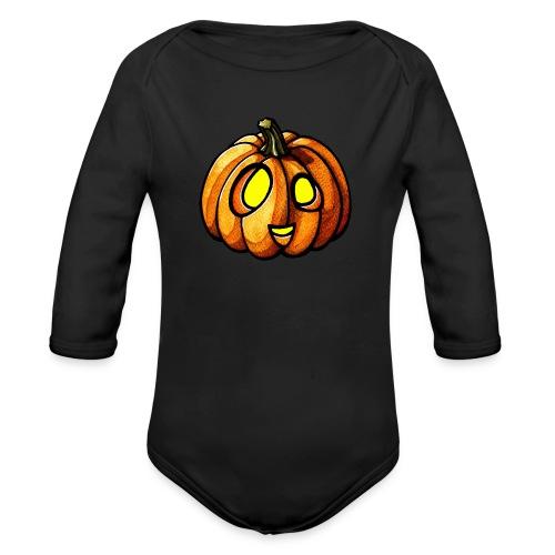 Pumpkin Halloween watercolor scribblesirii - Vauvan pitkähihainen luomu-body