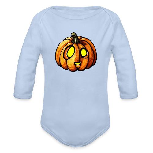 Pumpkin Halloween watercolor scribblesirii - Baby Bio-Langarm-Body
