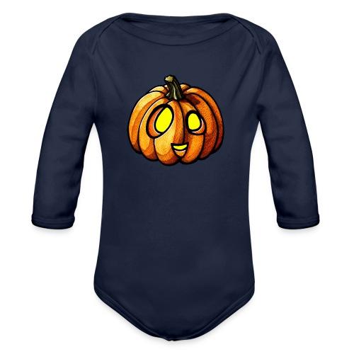 Pumpkin Halloween watercolor scribblesirii - Langærmet babybody, økologisk bomuld