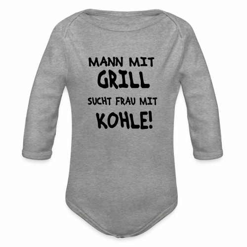 Mann mit Grill - Baby Bio-Langarm-Body