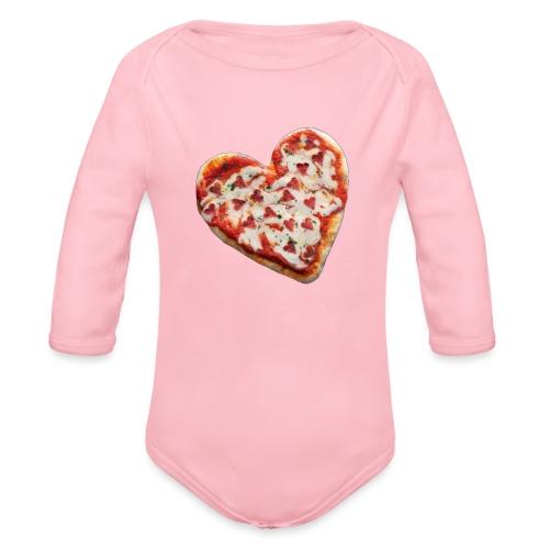 Pizza a cuore - Body ecologico per neonato a manica lunga
