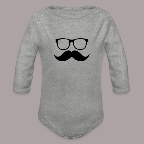 Mustache cases - Baby bio-rompertje met lange mouwen