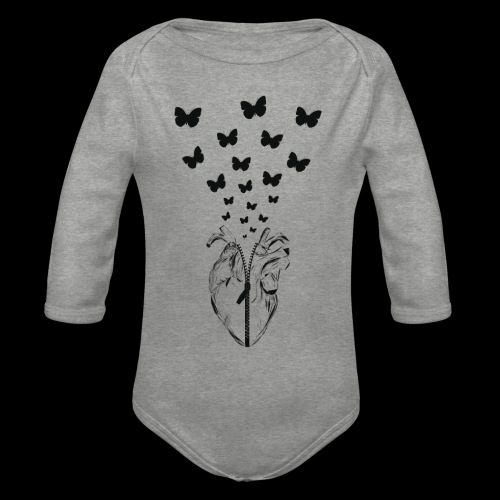 HEART BUTTERFLY - Body ecologico per neonato a manica lunga