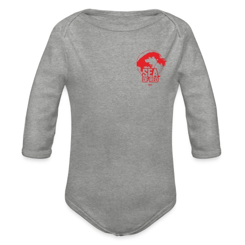Sea of red logo - small red - Organic Longsleeve Baby Bodysuit