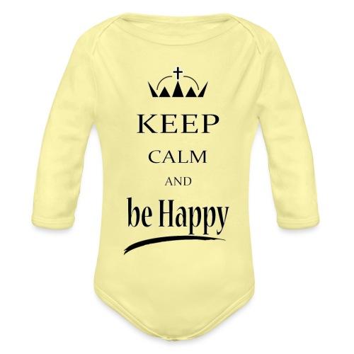 keep_calm and_be_happy-01 - Body ecologico per neonato a manica lunga