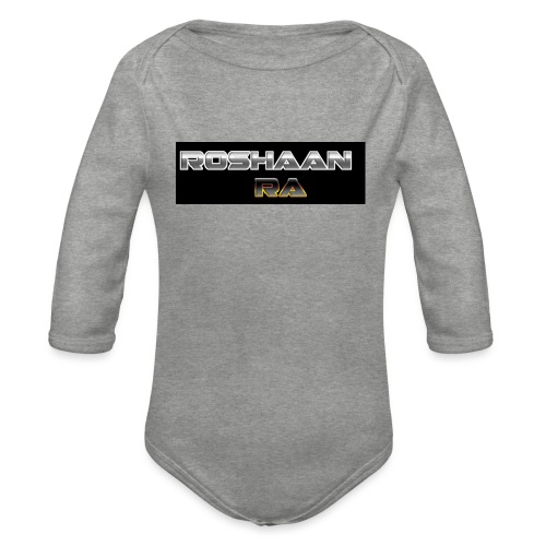 RoshaanRa GreyLogo - Organic Longsleeve Baby Bodysuit