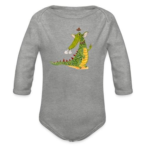 Drachenkrokodil mit weißem Logo - KlingBim - Baby Bio-Langarm-Body