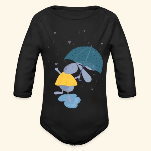 happy in the rain - Organic Longsleeve Baby Bodysuit