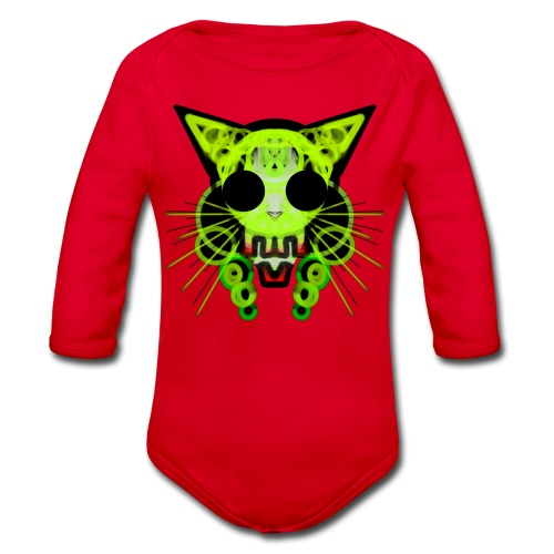 cat skeleton skull light green in deep black - Organic Longsleeve Baby Bodysuit