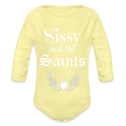 Sissy & the Saints witte letters - Baby bio-rompertje met lange mouwen