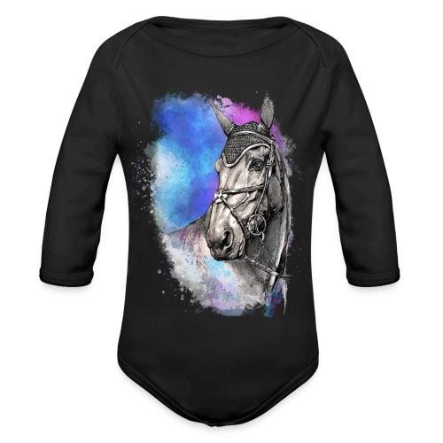 KOŃ GŁOWA akwarela z koniem horseTSHIRT - Ekologiczne body niemowlęce z długim rękawem