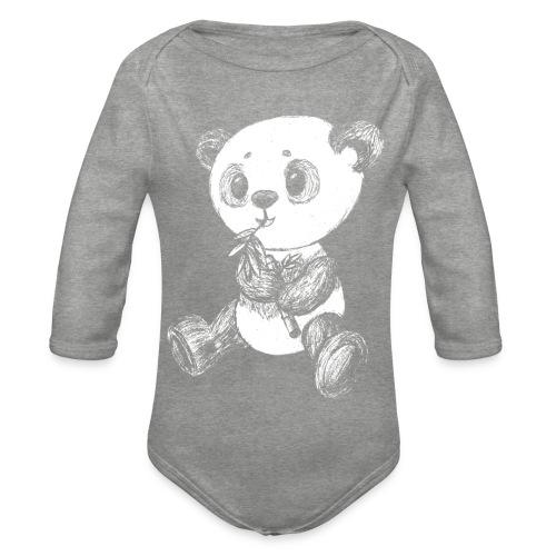 Panda bjørn hvid scribblesirii - Langærmet babybody, økologisk bomuld