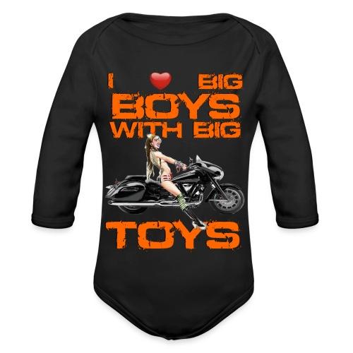 I love boys with big toys - Baby bio-rompertje met lange mouwen