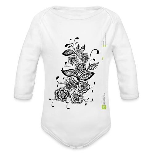 diseño de flores - Body orgánico de manga larga para bebé