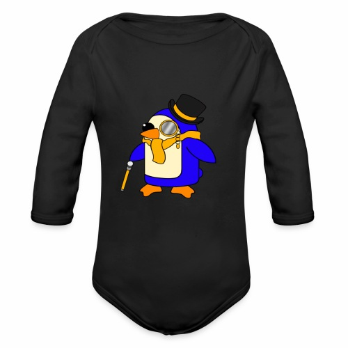 Cute Posh Sunny Yellow Penguin - Organic Longsleeve Baby Bodysuit