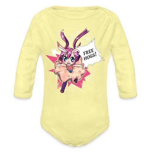 Free hugs (white lines) - Organic Longsleeve Baby Bodysuit