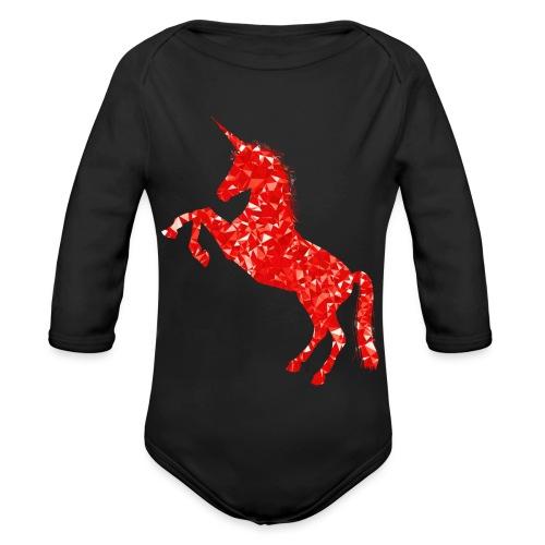 unicorn red - Ekologiczne body niemowlęce z długim rękawem