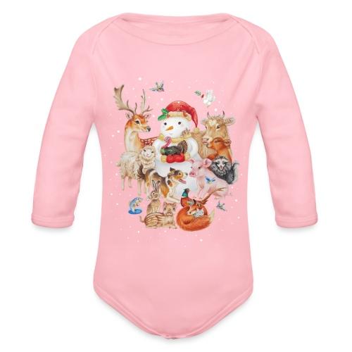 winter animals - Organic Longsleeve Baby Bodysuit