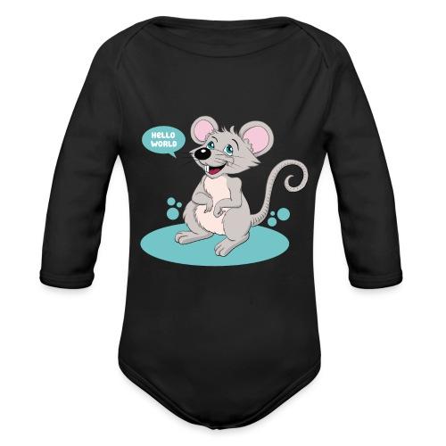 Kleine Maus als Geschenk zur Geburt - Baby Bio-Langarm-Body