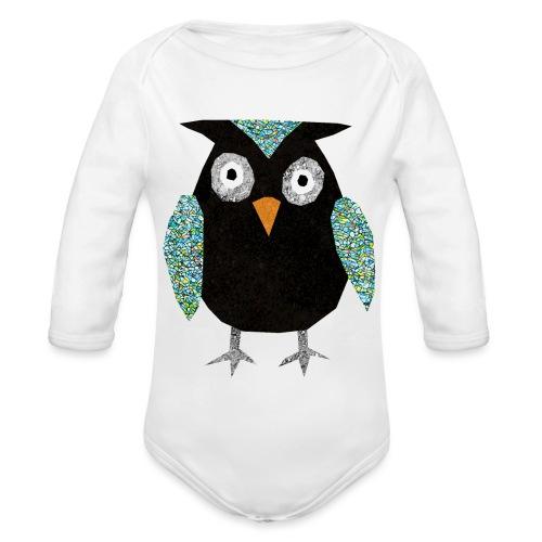 Collage mosaic owl - Organic Longsleeve Baby Bodysuit