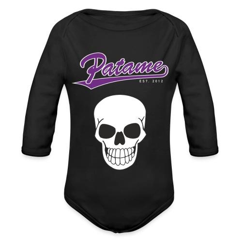 Patame Purple White Skull - Baby Bio-Langarm-Body