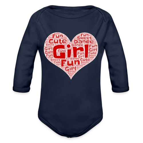 Girl heart - Baby bio-rompertje met lange mouwen