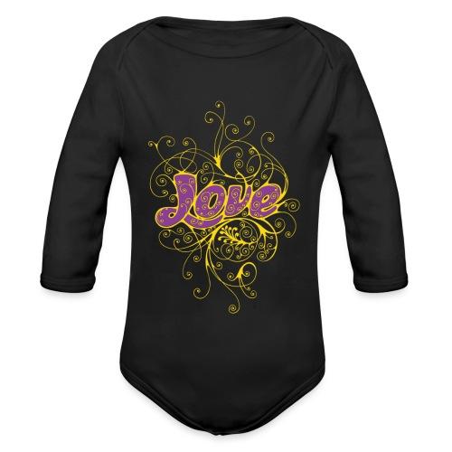 LOVE VIOLA CON DECORI - Body ecologico per neonato a manica lunga