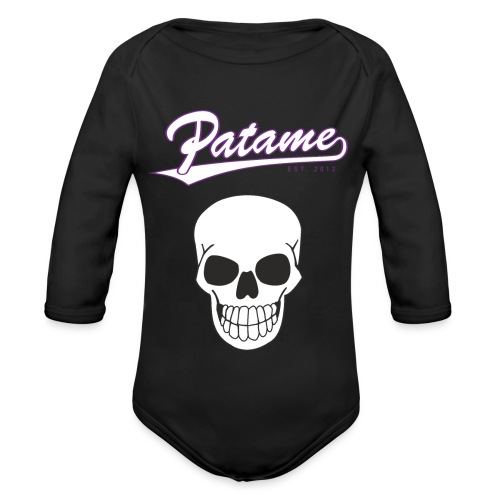 Patame White Purple with Skull - Baby Bio-Langarm-Body