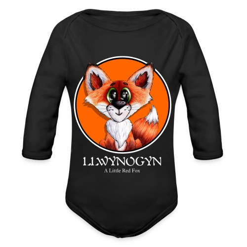 llwynogyn - a little red fox (white) - Vauvan pitkähihainen luomu-body