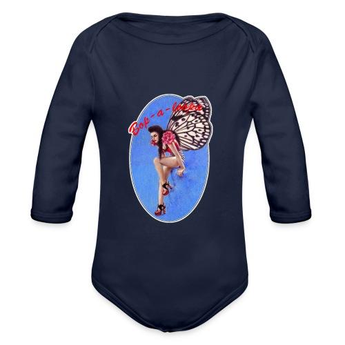 Vintage Rockabilly Butterfly Pin-up Design - Organic Longsleeve Baby Bodysuit